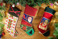 Beautiful Handmade Needlepoint Christmas Stocking Teddy Bear Santa Claus