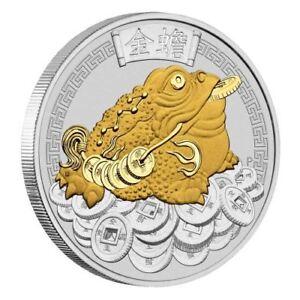 2018 Money Toad Tuvalu 1oz $1 Dollar .9999 Silver & 24k Gold Gilded Gilt Coin