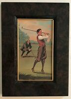 VINTAGE MARLENE COBLE FRAMED OF TWO GOLFERS ARTWORK ~ SIGNED and DATED