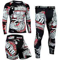 ROAR MMA Grappling Shorts & BJJ Rash Guard UFC NoGi Boxing Sets Jiu Jitsu Spats