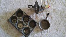 Super Vintage 3 piece miniature cook ware baking set tin cast iron pan whisk toy