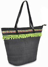 New Ladies Striped Cotton/Canvas/Straw Summer Shoulder Bag Tote Shopping Handbag
