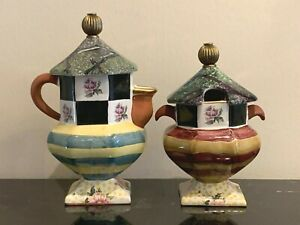 Mackenzie Childs Sea and Shore Frank and Mustard Pedestal Creamer and Sugar Set