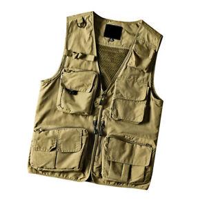 Men's Cargo Waistcoat Multi Pockets Mesh Vest Gilet Fishing Outdoor Work Casual