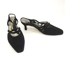 Ros Hommerson Heels 11 WW Paloma Black Fabric Strappy Slingback Sandal Shoes