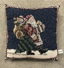 "Riverdale Tapestry Christmas Around the World Santa Claus Throw Pillow 14.5 x15"""