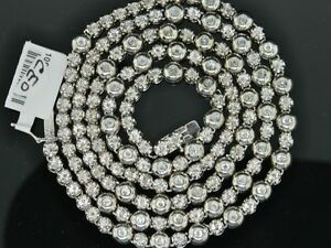 """MENS 1 ROW 2 CT ROSARY LINK SOLITAIRE BEZEL SET DIAMOND CHAIN NECKLACE 34"""""""