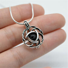 Antique Silver Celtic knot Design Locket Pendant Necklace with Lava Stone Beads