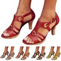 Women Summer High Heels Sandals Caged Strap Ankle Buckle Shoes Large Size sandal