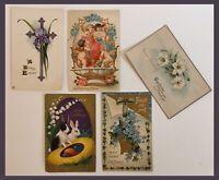 Vintage EASTER Postcards - Lot Of 5 - 1930's? - Bunny/Floral/Cross     (K402)