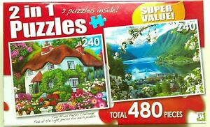 2 LPF Jigsaw Puzzles Cottage Flowers Butterflies Lake 240 Small pieces each