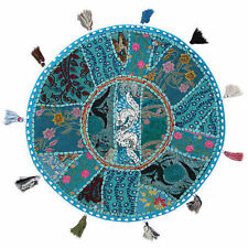 "17"" Round pouf ottoman Floor Pillow Cushion Turquoise round embroidered Pillow"