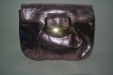 JUICY COUTURE CRACKLE LEATHER PINK SHIMMER CLUTCH HANDBAG_PURSE