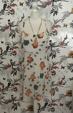 *Vintage 80s* White Floral Summer Dress by Line Woman Size 12 14