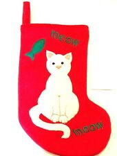 Christmas Stocking Red CAT KITTEN Holiday  Decor Fish MEOW