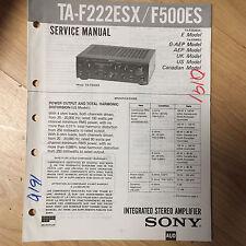 Sony Service Manual for the TA-F222ESX TA-F500ES Amplifier Amp ~ Repair