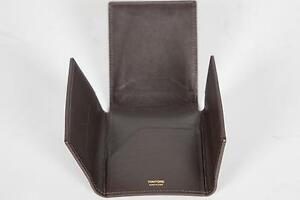 Tom Ford Smooth Dark Brown 100% Calf Leather 4 Panel Wallet Card Holder Italy