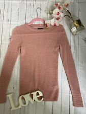 Jigsaw Size XS 6 8 100% pure cashmere thin knitted cosy jumper pink long sleeve