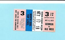 10/8/1977 Georgia Bulldogs vs Ole Miss Ticket UGA won 14-13
