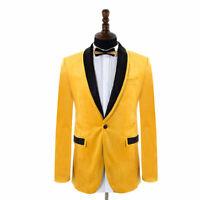 Yellow Jacket Velvet Men Wedding Suits Groom Best Man Tuxedos Formal Party Suits