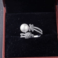 Pearl CZ Zircon Gems 18K White Gold Filled Engagement Wedding Finger Open Ring