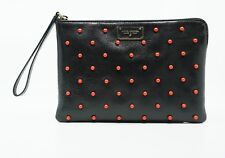 Marc Jacobs Women's Studded Polka Dot Fat Leather Pouch, Black/Red, MSRP $652
