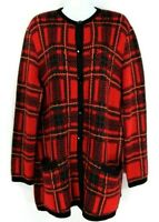 Vintage Gispa Women's Cardigan Sweater Size 10 Red Plaid Wool Blend Button Front
