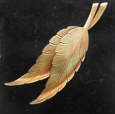 Tiffany & Co 14K Gold Detailed Feather / Leaf Brooch Pin Vintage w/ Pouch & Box