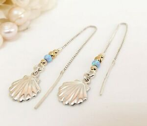 Threader Earrings Chain Opal Conch Shell Sterling Silver 925 Long Seashell