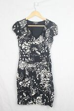 Emily and Fin Modcloth Size Small Dress Black White Short Sleeves Floral V-Neck