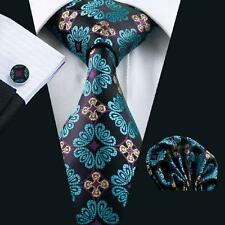SN-329 Men's Black blue Floral Silk Tie wedding classic formal necktie set