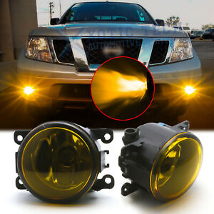 Golden Yellow Fog Lights Front Bulb w/ H11 Lamp For Nissan Titan Xterra Frontier