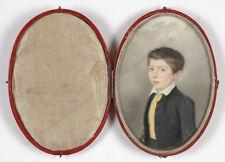 """Amelie de Lacepede (1796-1860) """"Portrait of a boy"""", large miniature, 1826"""