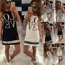 FREE P&P NEW Womens Cotton Casual Long Tops Blouse Summer Womens Love Mini Dress