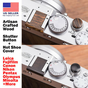 Artisan Wood Soft Shutter Button + Hot Shoe Cover Leica Fujifilm Canon Nikon+
