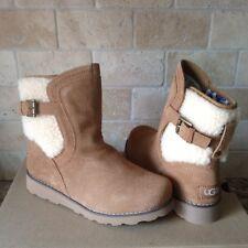 UGG Jayla Suede Sheepskin Cuff Buckle Wedge Boots US 4 Youth Kids fits Womens 6