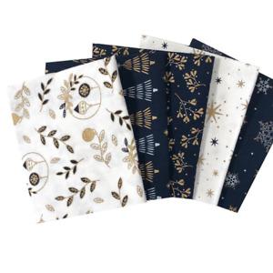 Christmas Fat Quarter Bundle - Metallic Christmas - 100% Cotton - Festive Fabric