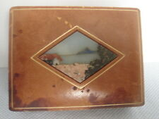 Vintage Italian Pietra Dura Leather Box Inlaid Stone Scene Made In Ilaly 5 X 3.5