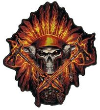 """Skull In A Flame Indian Headress 5"""" X 6"""" Motorcycle Biker Uniform Patch"""