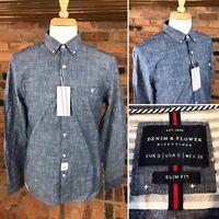 DENIM & FLOWER Chambray Collection Slim-Fit Men's Shirt ~ L/S Button-Down Blue