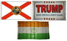 3x5 Trump White #2 & State of Florida & City of Miami Wholesale Set Flag 3'x5'