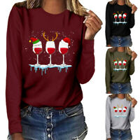 Autumn Womens Ladies Blouse Tee Xmas Loose Casual T Shirt Party Long Sleeve Tops