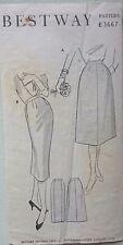 """Vintage 1950s Sewing Pattern Bestway 3667 Pencil Skirt H36"""" Complete"""
