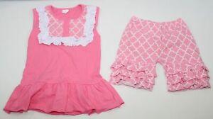 2 Pc Conice Co. Outfit Youth Girls Size 6-7T Ruffle Tunic Shirt Capri Pants Pink