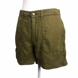 Free People Shorts Army Green Cargo Utility Military High Rise Cotton Linen 4