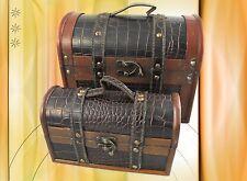 Holzkoffer 2 er Set Leder Optik Truhen & Kisten antik Vintage Geschenk Sammler