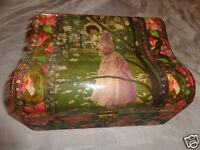 ANTIQUE VICTORIAN CELLULOID LADY BLOSSOM TREE FLORAL DRESSER JEWEL CASE BOX