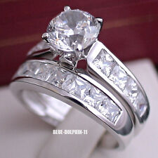 Genuine Solid 9K White Gold Engagement Wedding Love Rings Set Simulated Diamonds
