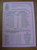 06/03/1989 Bradford City Reserves v Blackpool Reserves  (Single Sheet)