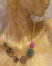Beads Rhinestone Goldtone Chain Decree Necklace Owl Flowers Iridescent Blue Pink